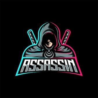 Assassin ninja con modello sportivo della mascotte da gioco con logo spada