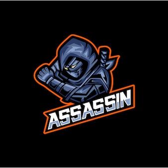 Design del logo della mascotte sportiva dell'assassino