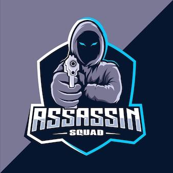 Assassin with guns mascotte esport logo design