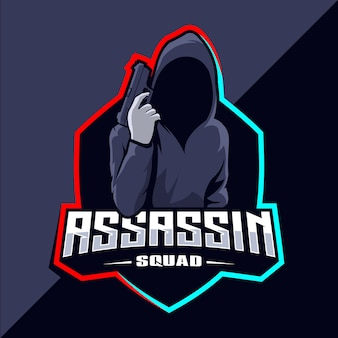Assassin with guns mascotte esport logo design