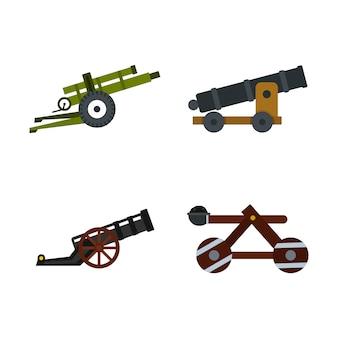 Set di icone di macchina d'assalto. insieme piano della raccolta delle icone di vettore della macchina di assalto isolato