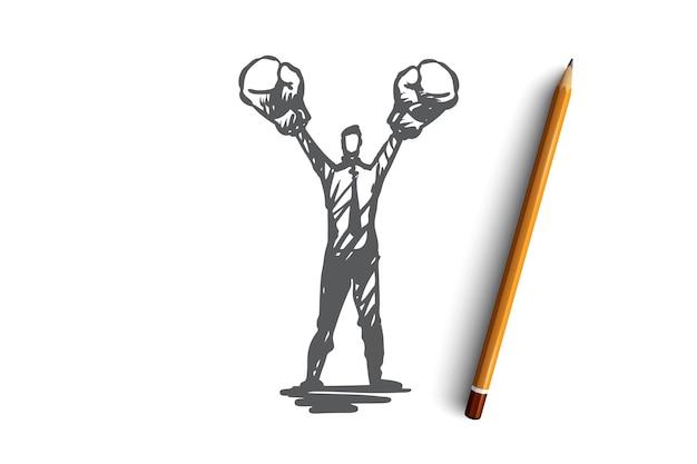 Assertività, successo, lavoro, competenza, concetto di motivazione. schizzo di concetto di uomo d'affari risoluto disegnato a mano.