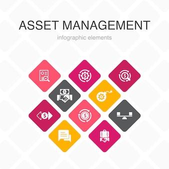 Gestione delle risorse infografica 10 opzioni colore design.audit, investimento, affari, stabilità icone semplici