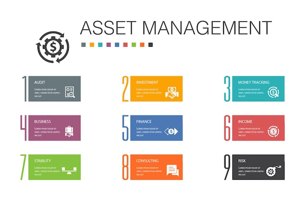 Asset management infografica 10 linea di opzioni concept.audit, investimenti, affari, stabilità icone semplici