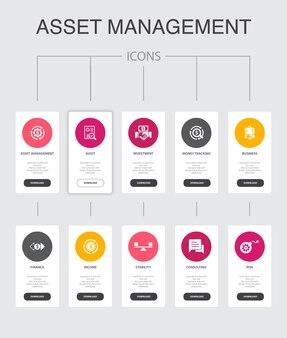 Gestione delle risorse infografica 10 passaggi ui design.audit, investimento, affari, stabilità icone semplici