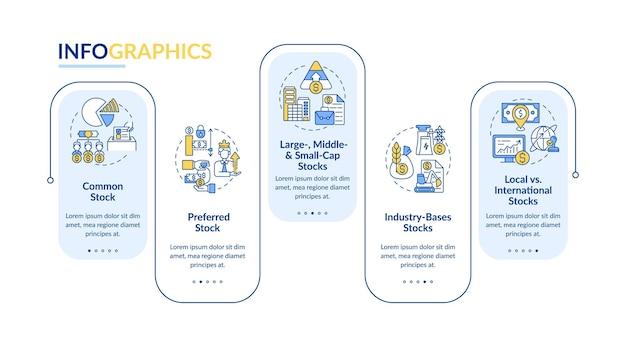 Modello di infografica tipi di asset. a seconda delle dimensioni e della posizione degli elementi di design della presentazione delle scorte.