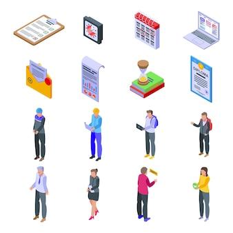 Set di icone di assegnazione. insieme isometrico delle icone di assegnazione per il web isolato su priorità bassa bianca