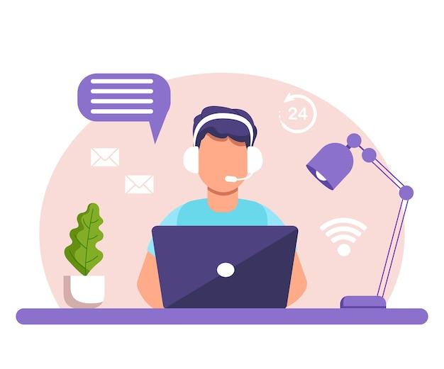 Assistenza, call center. uomo con cuffie e microfono con laptop