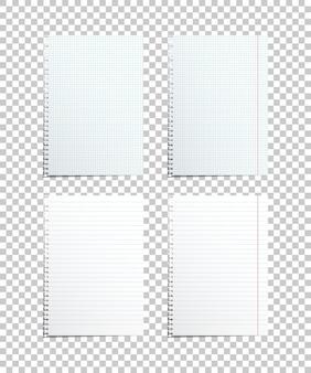 Fogli di carta assortiti, elementi di design realistici.