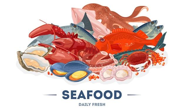 Assortimento, grande varietà di pesce fresco nel mercato del pesce, supermercato,