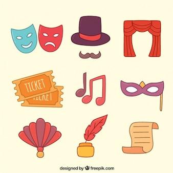 Assortimento di fantastici oggetti teatrali colorati