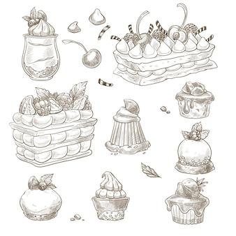 Assortimento di crostate e torte, cupcakes e prodotti da forno
