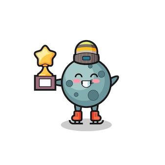 Cartone animato asteroide come un giocatore di pattinaggio sul ghiaccio tiene il trofeo del vincitore, un design in stile carino per t-shirt, adesivo, elemento logo