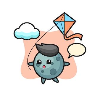 L'illustrazione della mascotte dell'asteroide sta giocando a un aquilone, un design in stile carino per maglietta, adesivo, elemento logo