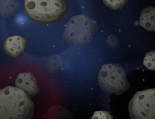 Illustrazione di scena del fondo dello spazio di asteroidi