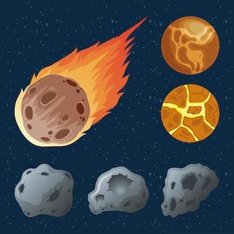 Asteroidi con pianeti e meteoriti in fiamme icone