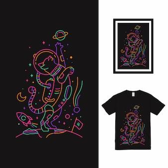 T-shirt astro cat monoline design