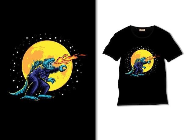 Illustrazione di astro godzilla con t-shirt design