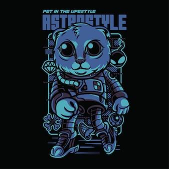 Astro style scottish fold illustrazione