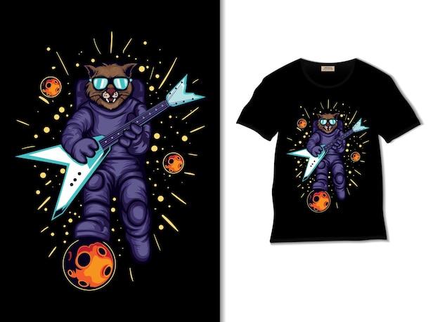 Astrocat suona la chitarra nell'illustrazione spaziale con il design della maglietta