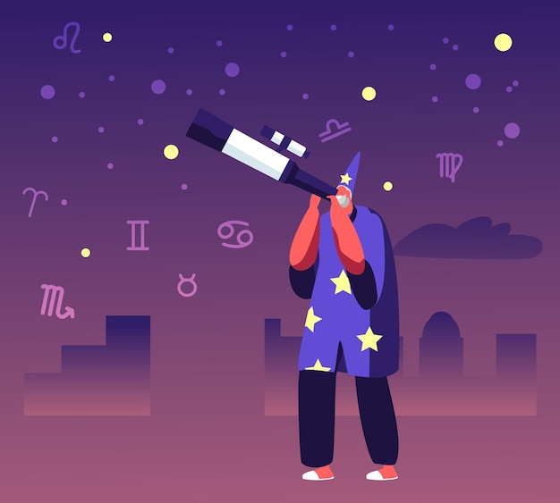 Astrologo in costume e cappello che guarda la luna e le stelle attraverso il telescopio che studia lo spazio. cartoon illustrazione piatta
