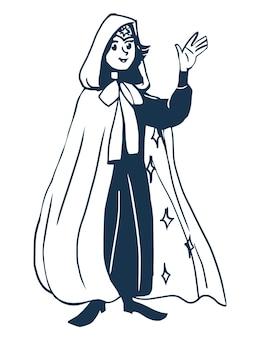 Ragazza astrologa in un mantello con stelle line art libro da colorare insegnante di astronomia