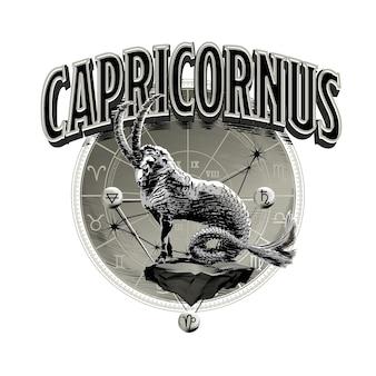Vettore astrologico disegnato a mano romantico bella linea arte dello zodiaco capricorno illustration