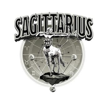 Vettore astrologico disegnato a mano romantico bella linea arte dello zodiaco sagittario illustration