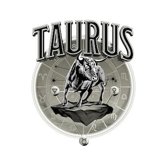 Vettore astrologico disegnato a mano romantico bella linea arte dello zodiaco taurus illustration