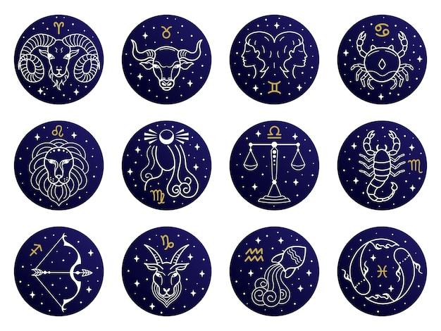 Illustrazione di segni zodiacali astrologici