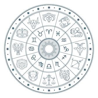 Il cerchio dell'oroscopo di astrologia con lo zodiaco firma il fondo di vettore