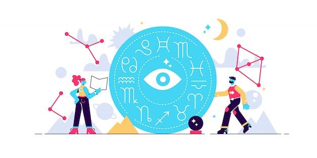 Illustrazione di astrologia. simboli di conoscenza costellazione dello zodiaco. concetto antico astratto del calendario con tutta la raccolta di caratteri. la mitologia della cultura esoterica decora l'apprendimento dalla natura