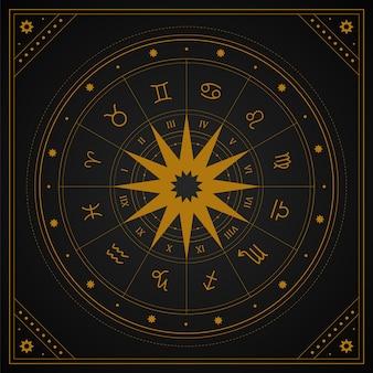Ruota di astrologia con segni zodiacali in stile boho.