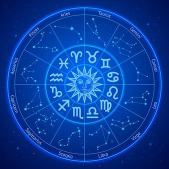 Segni zodiacali astrologia stelle in cerchio