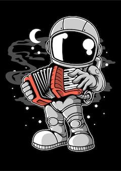 Personaggio dei cartoni animati di fisarmonica di astronauta