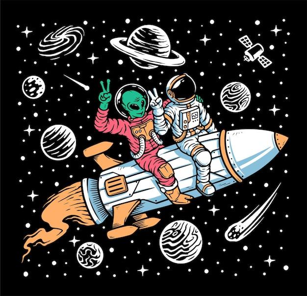 Astronauta e alieno cavalcano sull'illustrazione di razzi