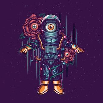 Astronauta e illustrazione vettoriale alieno