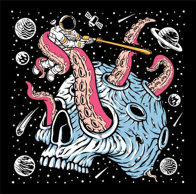 Astronauta attaccato da mostri sull'illustrazione del pianeta del cranio