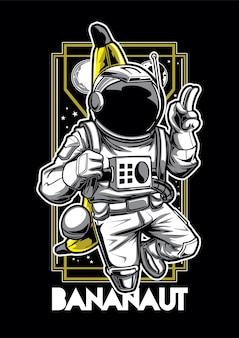 Mascotte dell'illustrazione della banana e dell'astronauta