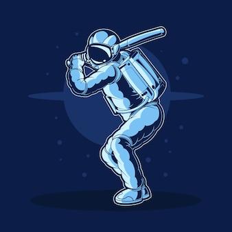 Disegno dell'illustrazione di baseball dell'astronauta