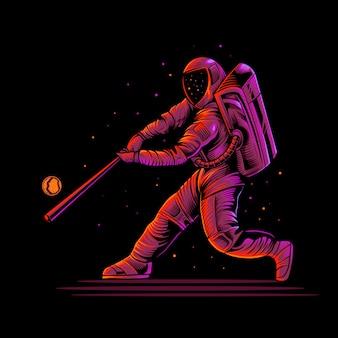 Illustrazione di baseball astronauta