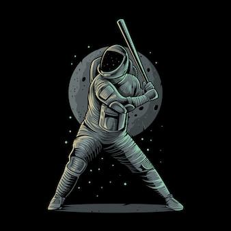 Baseball dell'astronauta sull'illustrazione dello spazio
