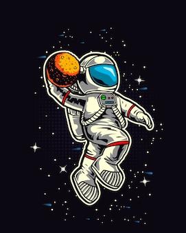 Schiacciata del cestino dell'astronauta nello spazio