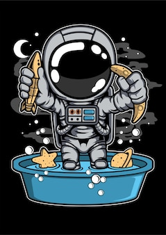 Personaggio dei cartoni animati di astronauta vasca da bagno