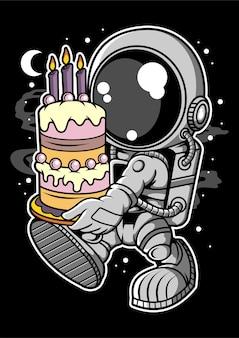 Personaggio dei cartoni animati di torta di compleanno di astronauta