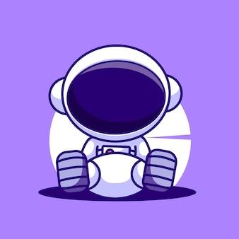 Illustrazione dell'icona di vettore del fumetto del ragazzo dell'astronauta