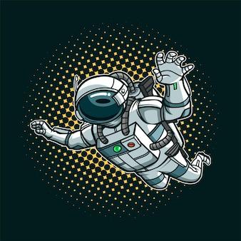 Illustrazione del fumetto di volo del ragazzo dell'astronauta
