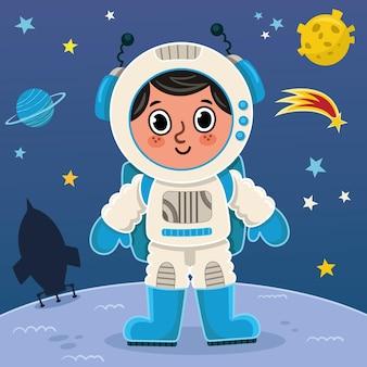 Ragazzo astronauta sul pianeta illustrazione vettoriale