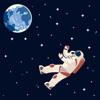 Illustrazione dello spazio di esplorazione del fumetto del carattere dell'astronauta