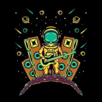 Concerto di astronauti sulla luna con illustrazione di chitarra